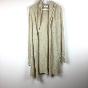 Vince -yak open front hooded long cardigan sweater